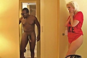 Alluring Blonde MILF Jenna Ivory Is Having Crazy Interracial Sex In The Hotel Room