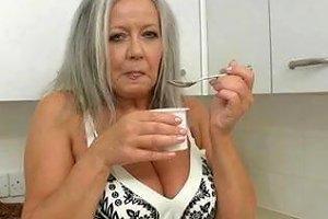 Horny Grandma In Kitchen